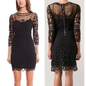 Rag & Bone Nancy black crochet lace net dress